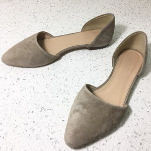 J Crew d'Orsay Flats Suede Leather Pointy Toe